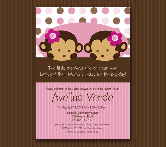 Pink Twin Monkey Baby Shower Invitation Digital File