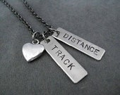 TRACK Love DISTANCE or EVENT Necklace - Heart or Shoe Charm - Track Event or Track Distance - Track Coach - Team - T & F - Track and Field