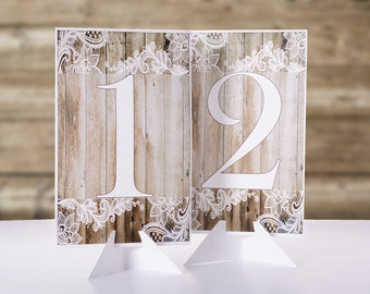 Wedding Table Number Cards - Vintage Wedding Table Markers - Rustic Wood and Lace Wedding Decor