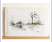 Fine Art Luxury Greeting Card,  Kylie Fogarty Art, Maggie in the Marsh, Minimalist Card, Father's Day