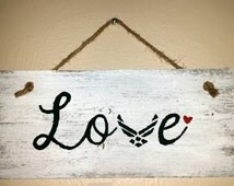 Airforce LOVE custom painted wood reclaimed fence panel sign