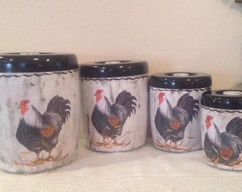 Rooster Canister Set...4 Piece Vintage Upcycled Canister Set...Kitchen Decor..Black and White Canisters Rooster Collector...Home Decor..