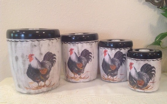 rooster canister set 4 piece vintage upcycled canister