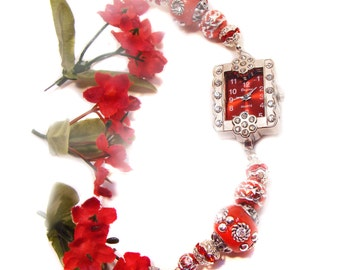 Stunning Red Christmas Bracelet Watch with Jesse James Red Beads