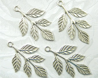 Antiqued Silver Leaves, Brass Leaf Stamping, Leaf Drop, Embellishment 23mm x 37mm - 4 pcs. (sl175)