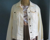 Upcycled jacket, yellow linen jacket S, rustic tattered jacket yellow jaclet, rustic tattered linen, jacket by Shaby Vintage