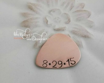 Personalized Copper Guitar Pick - Custom Date Copper Guitar Pick - Hand Stamped Guitar Pick - Engraved Guitar Pick - Groom Wedding Gift