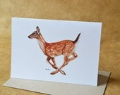 Fallow Deer - Greeting Card - Woodland Animal Card - With Envelope
