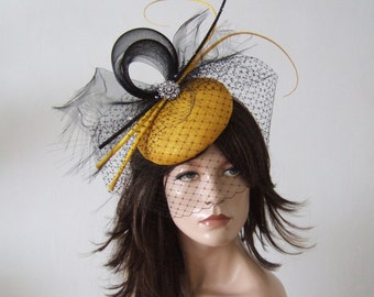 Black Golden Yellow Quills and Crystals Veiled Fascinator Headpiece with Frayed Crin MV2607 Mother of The Bride Racing Fashion Hat