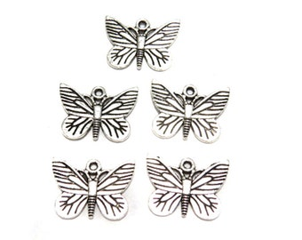 5 Silver plated butterfly charms