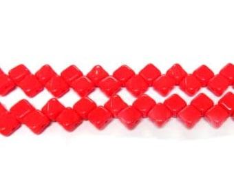 Czech 2 Hole Silky 6mm Red Opaque Glass Beads
