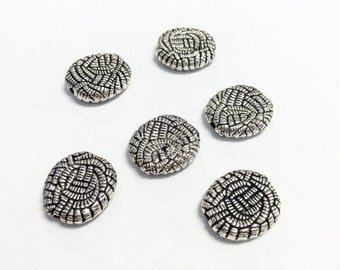 6 antique Silver plated spacer beads