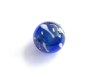 Round 14mm blue and foil Czech lamp Bead