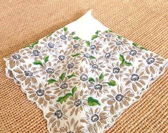 """Vintage Hanky Linen Daisies Farmhouse Wedding Hankie Cottage Chic Bride's Hanky Bridesmaids Wedding Handkerchief  13+"""""""