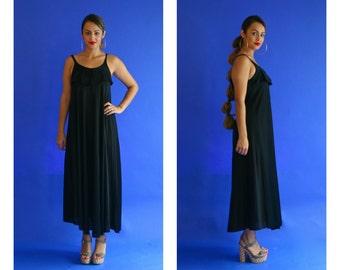 black ruffle maxi dress/ disco satin black tank dress/ 1970s/ small - medium