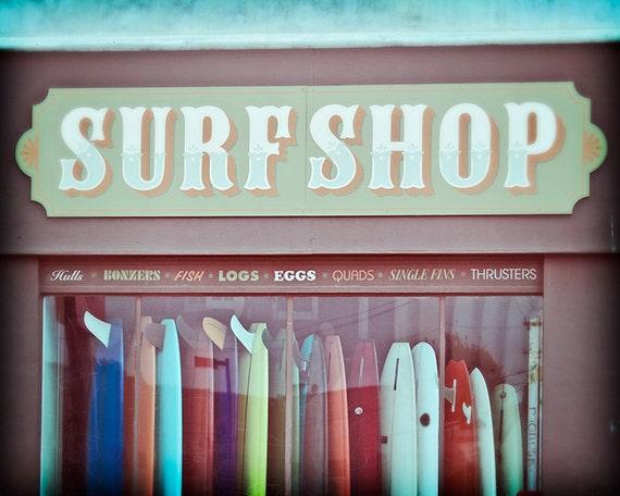 Surf Photography, Seaside California Beach Decor Surf Shop Photography Print, Vintage Style, Teal, Aqua, Rainbow Surfboards - Old Time Surf
