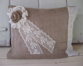 CLEARANCE SALE Pillow Burlap Soft White Lace Edging Lace Flower Pearl  Center Lt Brown 16x12 Home