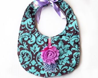 Birthday Party - Turquoise - Reversible Bib with cupcake and gray minky