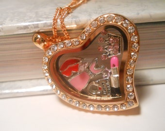 Girlie Girl Floating Locket, floating memory locket, memorial locket, living memory locket, personalized locket, princess pendant, princess