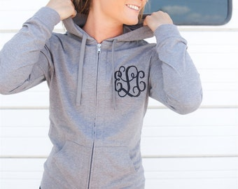 Bridesmaid Gift. Monogrammed woman's hoodie. Light weight zip up monogram sweatshirt. Birthday present. Embroidered women's clothes.