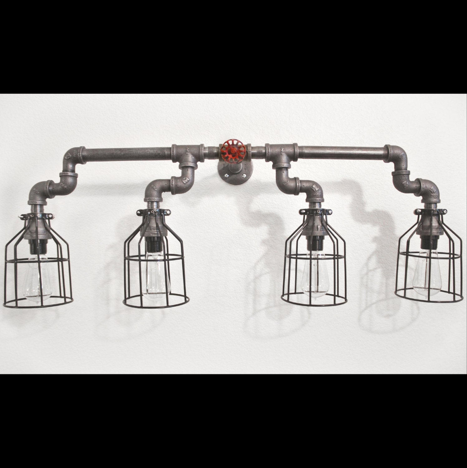 Industrial Pipe Wall Light: Industrial Pipe Lighting Bathroom Vanity Sink Light Wall