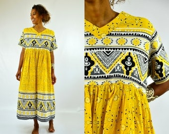 90s Bandana Print Dress Tribal Yellow Babydoll Maxi Dress