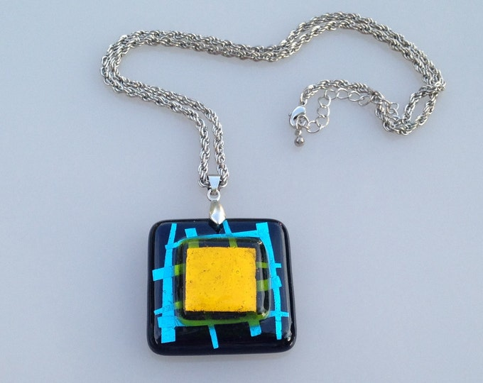 Large square vintage dichroic glass pendant and chain 18K gold filled stamped fob. Black glass pendant. Art glass pendant. Glass necklace.