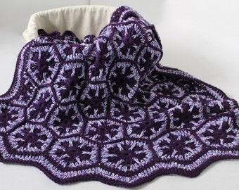 Handmade Cotton Afghan - Snowflake Hexagon - Lapaghan - Baby Blanket - Plum and multi toned purple