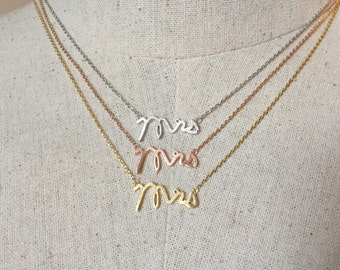 Mrs Necklace, 18k Gold/Rose Gold/Silver, Dainty Necklace