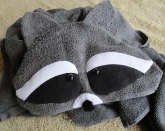 Raccoon Hooded Beach Towel