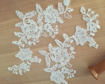 Bridal Alencon Lace Applique, Wedding Lace Applique , Ivory Embroidery Applique 2 pieces