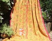 Yellow Floral Kantha,Flowery Kantha, orange Kantha,Vintage sari throw, Indian throw