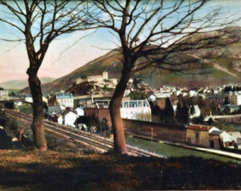Antique Color Panorama of Lourdes France - Framed French Artwork, vintage print, panoramic print - French Landscape Wall Decor