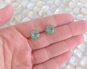 Mint Stud Earrings Gold Faceted Gem Stud Nickel Free