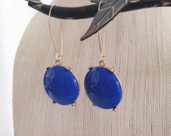 Cobalt Blue Drop Dangle Earrings