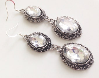Crystal Two Tier Silver Filigree Oval Bridal Bridesmaid Earrings