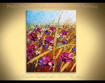 Abstract Modern Purple Flowers on Canvas Palette Knife painting from Paula Nizamas hand painted figurative art
