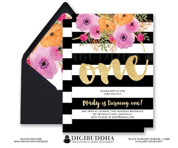 FIRST BIRTHDAY INVITATION Black White St Stripe Gold - Black and white striped birthday invitations