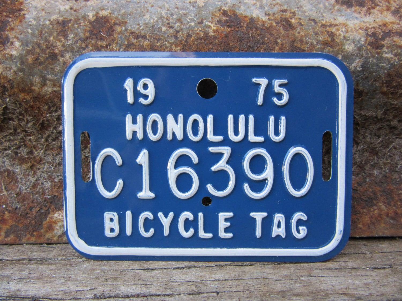 Hawaiian Tag: Vintage 1975 Honolulu Hawaii Bicycle License Plate Metal Tag