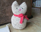 Tan Crocheted Cat Doorstop