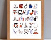 London Gift Print, London A to Z Alphabet City Typographic Screenprint
