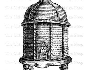 Antique Beehive Clip Art Printable Bee Hive Vintage Digital Download PNG JPG Image