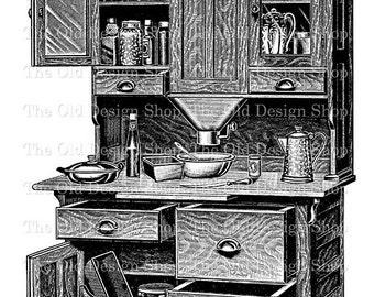 Vintage Kitchen Hoosier Cabinet Printable Graphic Clip Art Digital Transfer Image jpg png