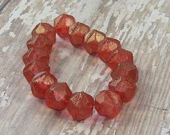 Red 10mm English Cut Bead Czech Glass Antique Gold Rustic BITTERSWEET (10)