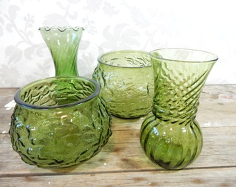 Vintage Green vase pair, set of 4 glass bud vases, hoosier glass, wedding decor, eco, EO Brody, candle holders
