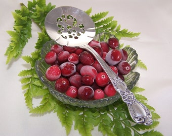 TOMATO Server, CRANBERRY Server, Tomatoes, Cranberries, Holiday Canape Server, Vintage Silver Plated, Heritage by Rogers, 1953, Under 25