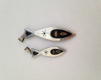 Pair of Vintage Mexican sterling silver fish pendants