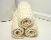 Organic Dishcloths, Eco Friendly Dishcloths, Crochet Dishcloths, Almond Set of 3, Organically Grown Cotton