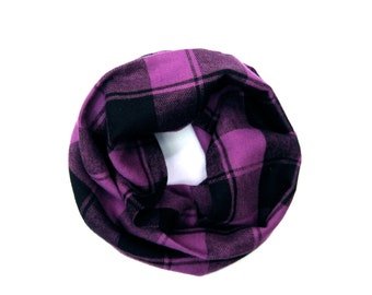 Purple Plaid Scarf, Toddler Scarf, Unisex Scarf, Plaid Flannel Scarf, Children's Clothing, Baby Bib Scarf, Under 10 Dollars, Ready to Ship