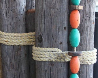 Beach Decor, Vintage, Orange and Green,  Lobster Buoy Nautical Wooden by SEASTYLE